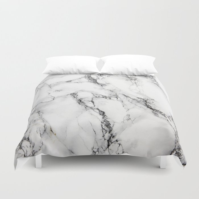 White Marble Texture Duvet Cover By Artonwear Society6