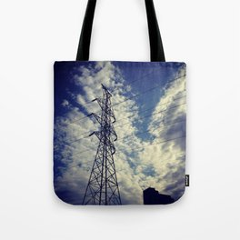 Heavenly spring sky in an industrial world Tote Bag