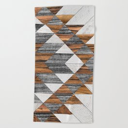 Urban Tribal Pattern 12 - Aztec - Wood Beach Towel