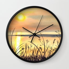 Sunset by the Water Watercolor Painting Wall Clock