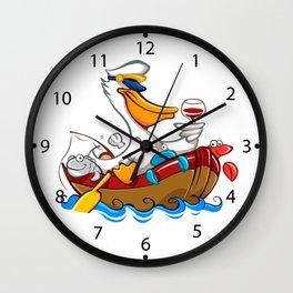 Cartoon pelican with captain's hat Wall Clock