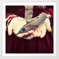 feather Art Prints featuring feather by elle moss