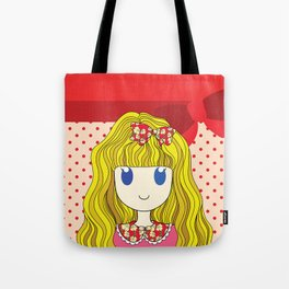 Little Girl with Ribbon Tote Bag