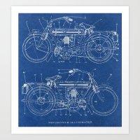 blueprint Art Prints featuring Motorcycle blueprint by marcusmelton