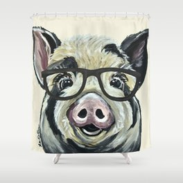 Pig with Glasses, Cute Farm Art Shower Curtain
