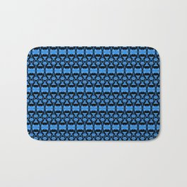 Dividers 02 in Blue over Black Bath Mat