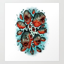 Frenzy Piranhas Art Print