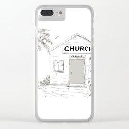 Samoan Boy Stand By Church Cartoon Clear iPhone Case