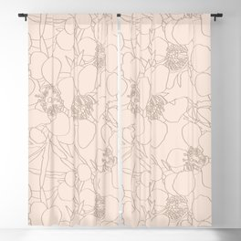Australian Waxflower Line Floral in Natural Blackout Curtain