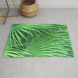 Jungle Tropical Palm Leaves in Vibrant Lush Greens Rug