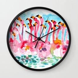 Welcome to Miami - Flamingos Illustration Wall Clock