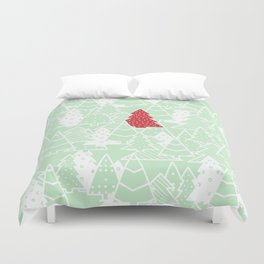 Elegant Green Christmas Trees Holiday Pattern Duvet Cover