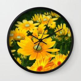 GOLDEN YELLOW  FLOWERS  GARDEN Wall Clock