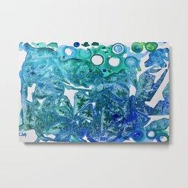 Sea Leaves, Environmental Love of the Ocean Blue Metal Print