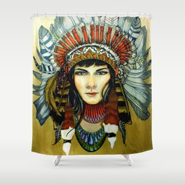 Indian Spirit Girl Shower Curtain