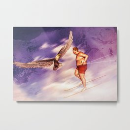 American Bold Eagle VS Summer Skier Metal Print