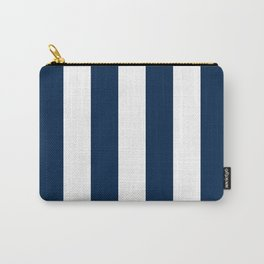 Vertical Stripes - White and Oxford Blue Carry-All Pouch