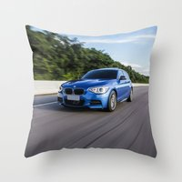 bmw Throw Pillows featuring BMW M135i by Nenhum Destes