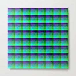 Purple and Teal Checkered Pixel Art Pattern Metal Print
