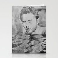 jared leto Stationery Cards featuring Jared Leto on water  by Jenn