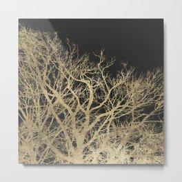 Elegant black and gold foil botanical tree  Metal Print