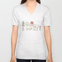 Cat couple and their plants. Unisex V-Neck