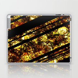 Gold Bars - Abstract, black and gold metallic, textured diagonal stripes pattern Laptop & iPad Skin