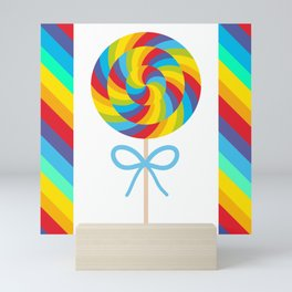 candy lollipop with bow, colorful spiral candy cane Mini Art Print