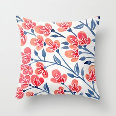 Cherry Blossoms – Melon & Navy Palette Throw Pillow