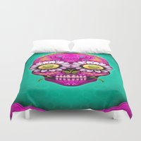 sugar skull Duvet Covers featuring Sugar Skull by Mr Grin