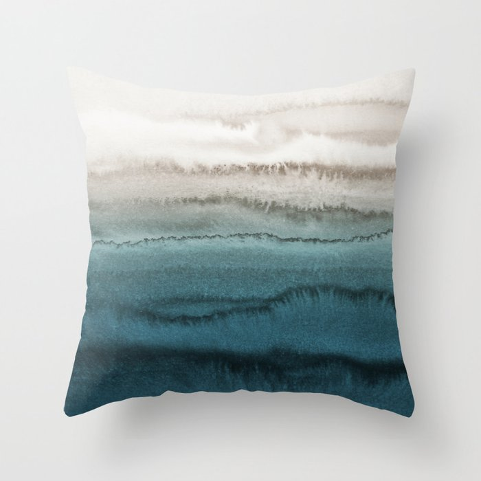 WITHIN THE TIDES   CRASHING WAVES TEAL Throw Pillow by