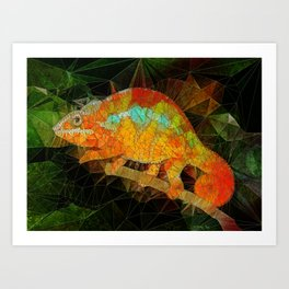 welcome to the jungle, abstract chameleon Art Print