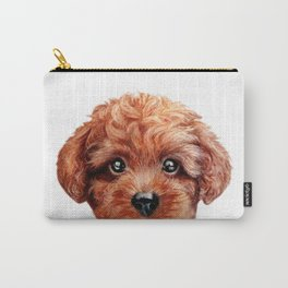 Toy poodle red brown Dog illustration original painting print Carry-All Pouch
