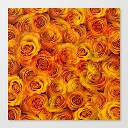 Grenadier Tangerine Roses Canvas Print