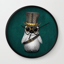 Steampunk Baby Penguin on Blue Wall Clock