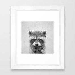 Raccoon - Black & White Framed Art Print