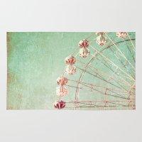 ferris wheel Area & Throw Rugs featuring Ferris Wheel by Caroline Mint