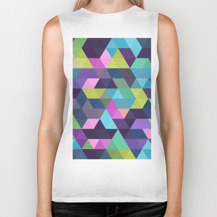 Colorful Geometric Background III Biker Tank
