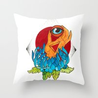 hamsa Throw Pillows featuring Hamsa by missfortunetattoo