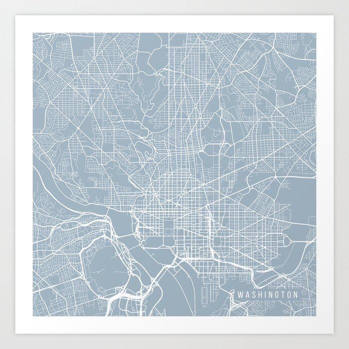 Washington Dc Map Usa Slate Art Print By Mainstreetmapscolor