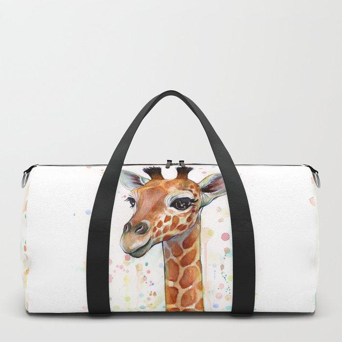 Giraffe Baby Watercolor Duffle Bag