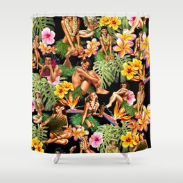 palm Girl Collage black Shower Curtain