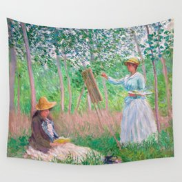 Claude Monet - In the Woods at Giverny, Blanche Hoschedé at Her Easel with Suzanne Hoschedé Reading Wall Tapestry