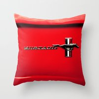 mustang Throw Pillows featuring Mustang by Catherine Doolan