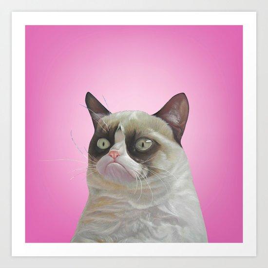 grumpy-cat-pink Art Print