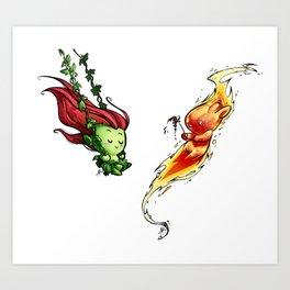 Inktober Poison Ivy & Torch Man Art Print
