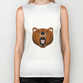 Geometric Bear - Abstract, Animal Design Biker Tank