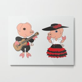 Romantic couple - two pig characters. Love and friendship illustration. Metal Print