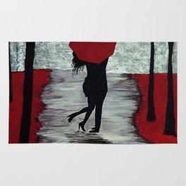 Red Autumn Rain Romance Rug