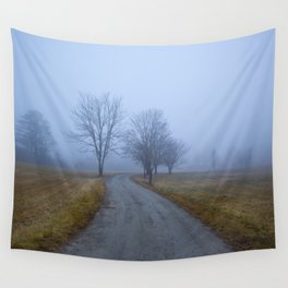 Trees Down a Hazy Road Wall Tapestry